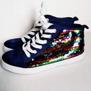 "NWOT ""Zandra"" Girls Sequin Sneakers Shoes 2"